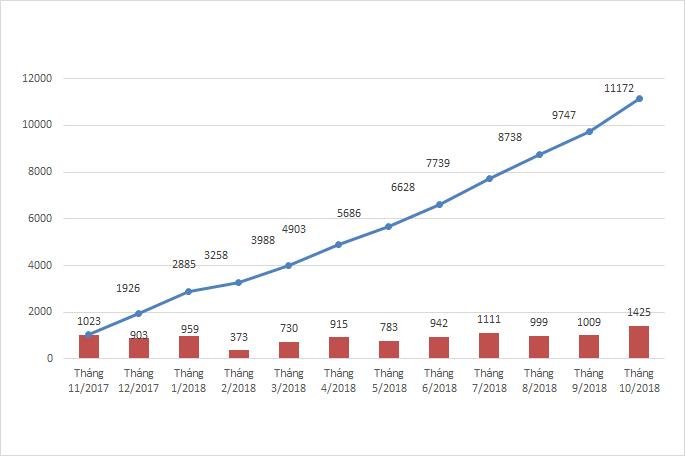 Tổng hợp số lượng báo cáo ADR từ các cơ sở khám, chữa bệnh năm 2018, giai đoạn tháng 11/2017 - 10/2018