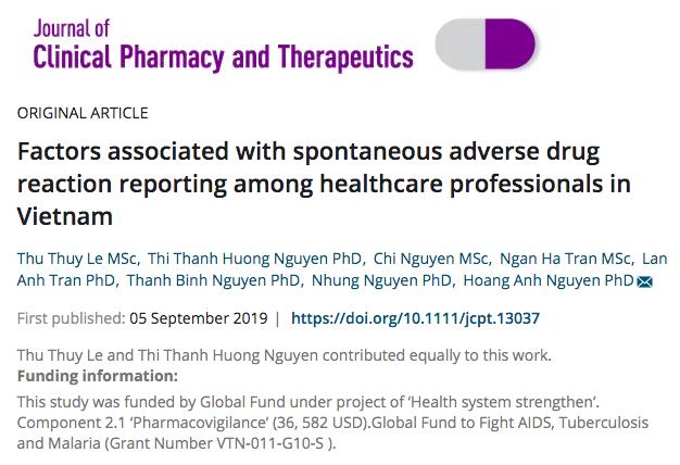Bài báo khoa học: Phân tích các yếu tố ảnh hưởng tới hoạt động báo cáo ADR tự nguyện của cán bộ y tế tại Việt Nam
