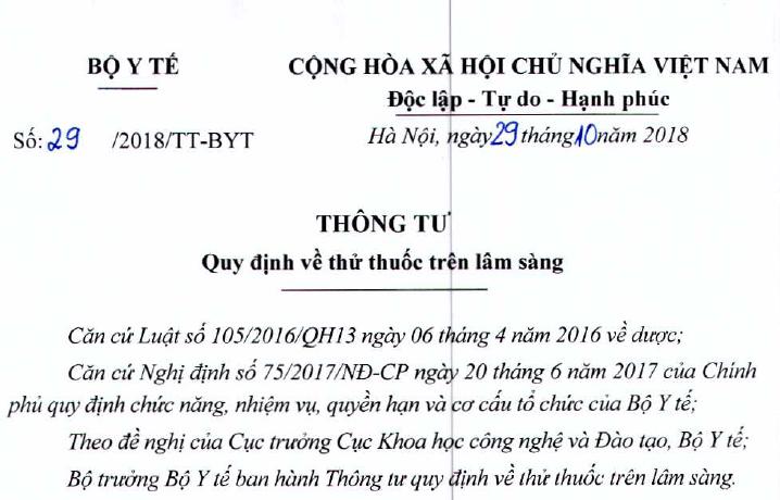Ban hành Thông tư số 29/2018/TT-BYT Quy định về thử thuốc trên lâm sàng