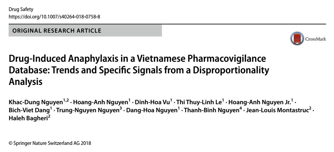 Bài báo khoa học: Phân tích xu hướng và các tín hiệu đặc thù về phản ứng phản vệ trong cơ sở dữ liệu báo cáo ADR tự nguyện tại Việt Nam.